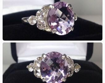 BEAUTIFUL 3.5ctw Royal Purple Amethyst /& Citrine Ring Size 7 Gift Jewelry Trends Birthstone Mom Wife Daughter Sister Collegiate Ametrine