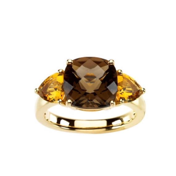 Beautiful 5.5ct Cushion Cut Smoky Quartz & Citrine Ring