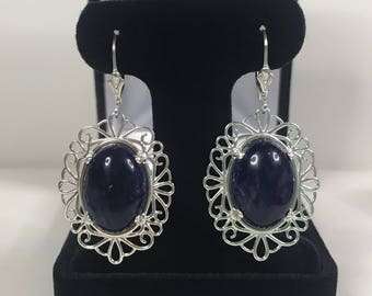 "BEAUTIFUL Blue Sodalite Earrings Earrings Sterling Silver Drop Dangle Jewelry Gift Cut Filigree Earrings Gemstone 2"" Trending Jewelry Gift"