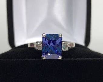 Gorgeous 2.5ct Emerald Cut Tanzanite Ring White Sapphire Accents Size 5 6 7 8 9 10 trending jewelry Gift Mothers Gift Bridal Violet Blue