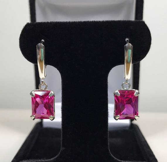 Gorgeous Pink Sapphire 925 Sterling Silver Earring Handmade Silver Ring