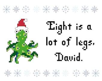 Cross stitch pattern of Eight Is A Lot Of Legs, David