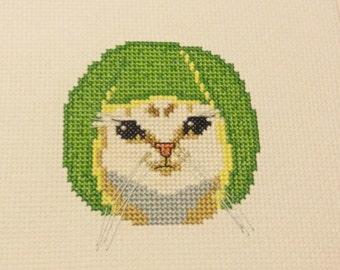 Cross stitch pattern of Lime Cat meme