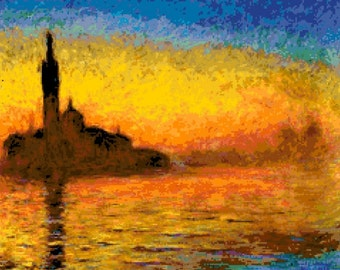 Cross stitch pattern of Monet - Twilight, Venice