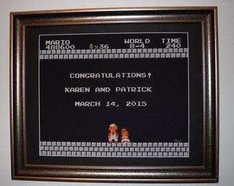 Wedding Cross stitch pattern of Mario End Screen