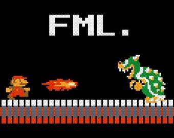 Cross stitch pattern of Mario FML
