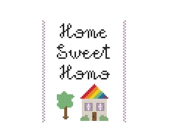 Cross stitch pattern of Home Sweet Homo