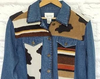 VINTAGE SOUTHWEST DENIM Jacket with Blanket Detailing. Indian Blanket. 1980's Jean Jacket.