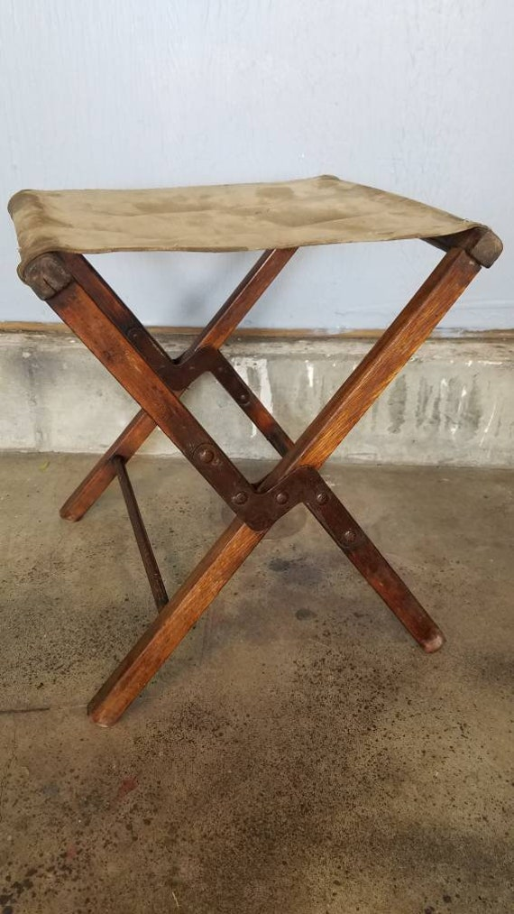 Vintage Folding Camp Stool with Canvas Seat. Backyard Camping   Etsy