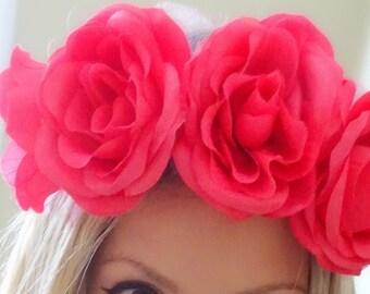 Pink Rose Headband, Flower Crown, Floral Crown, Pink Flower Crown, Rose Crown, Pink Floral Crown