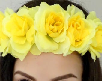 YELLOW Flower Headband, Floral Crown, Yellow Rose Crown