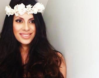 ROMANTIC White Flower Crown, Floral Crown, Flower Headband, Floral Headband, Flower Crowns