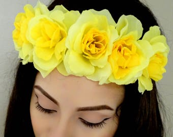 Floral Crown, Flower Crown, Yellow Rose Crown