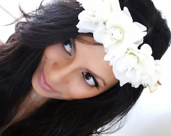 White flower crown etsy white flower crown floral crown boho headband hair accessories mightylinksfo
