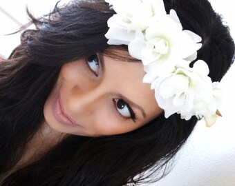 WHITE Flower Crown, Floral Crown, Boho Headband, Hair Accessories