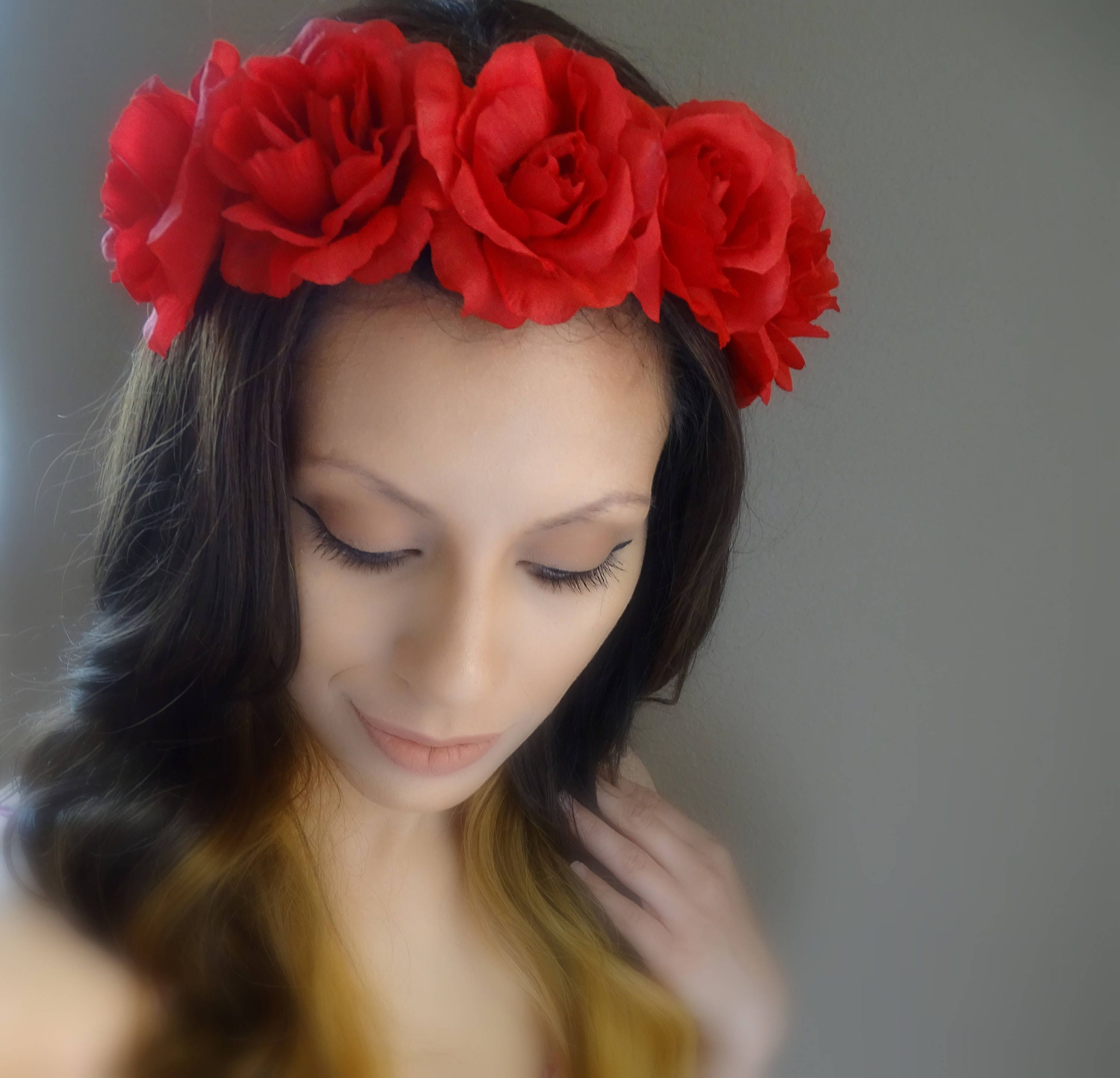 Beautiful Red Floral Crown Flower Headband Red Flower Crown Etsy