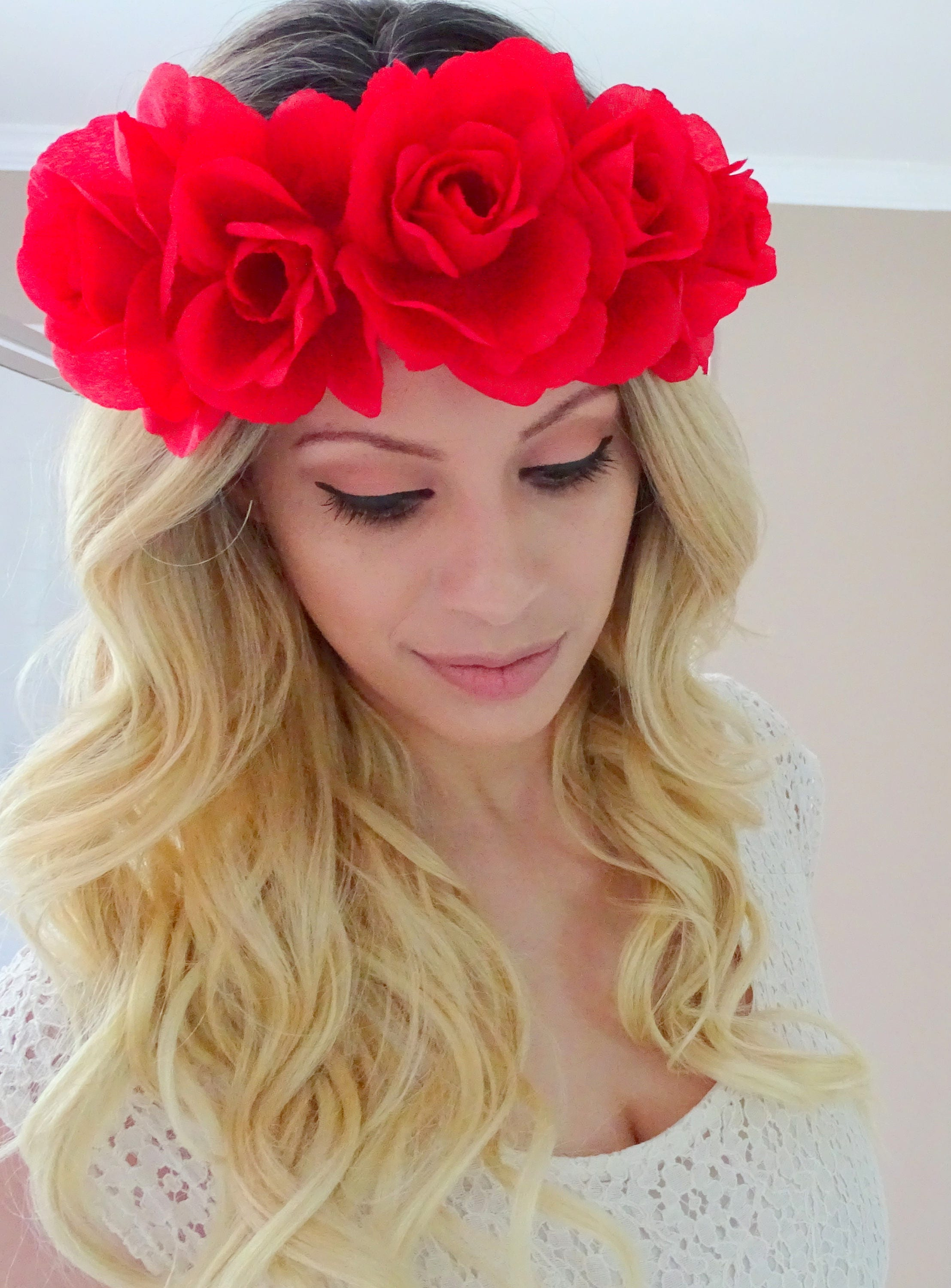Bright red flower crown flower headband fourth of july etsy 50 izmirmasajfo