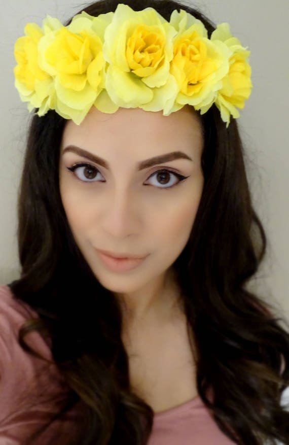 Yellow flower headband floral crown yellow rose crown etsy image 0 mightylinksfo