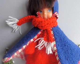 VINTAGE BLUE CAPE and hat plus a Handknit Red dress for 8in 20cm dolls like  Middel Blythe a036bd838f1a