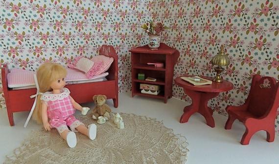 Casa De Muñecas Azul y Rosa Floral Cosy Cottage sillón mobiliario de Sala