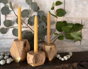 Set of 3 Reclaimed Wood Tapered Candleholders + Candles