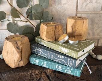 Set of 3 Reclaimed Wood Tea Light Holders + Candles