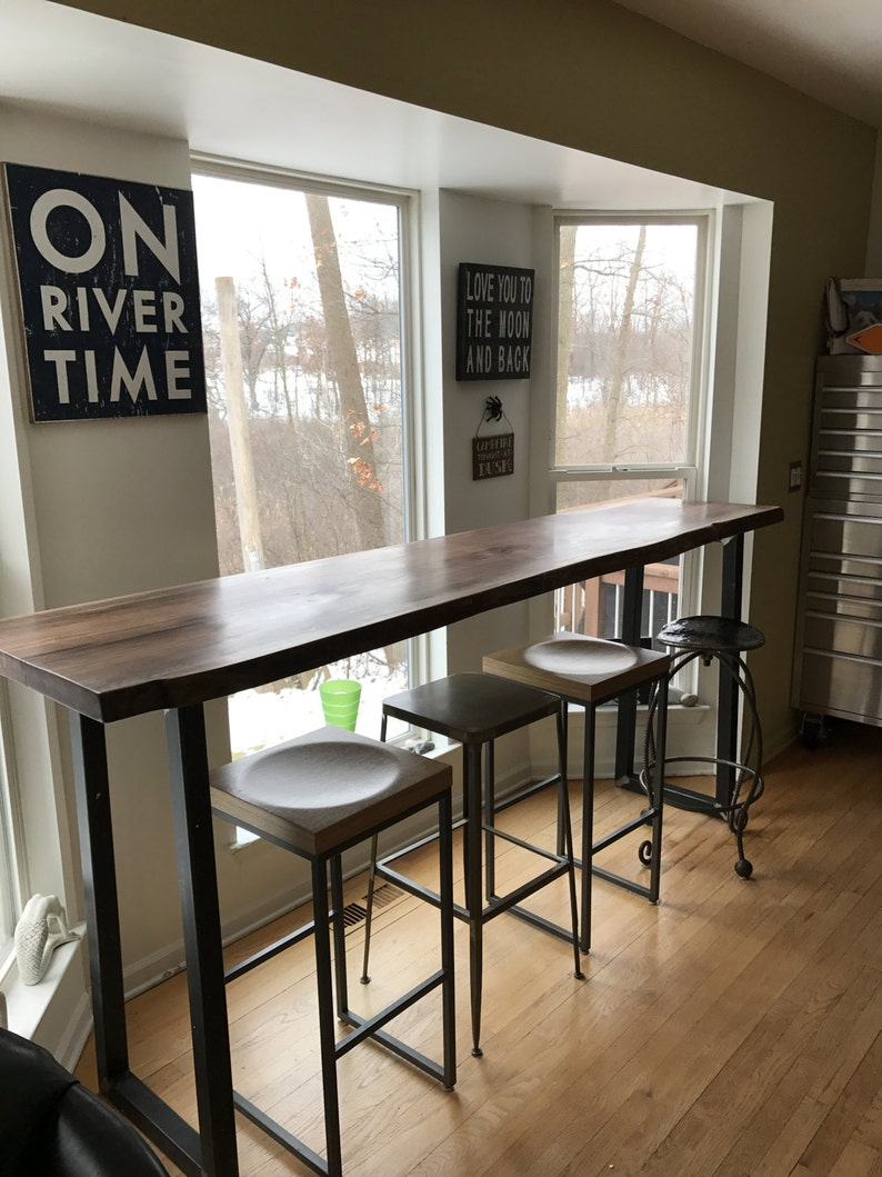 Live Edge Bar Table Tops  Black Walnut With Industrial Metal image 0