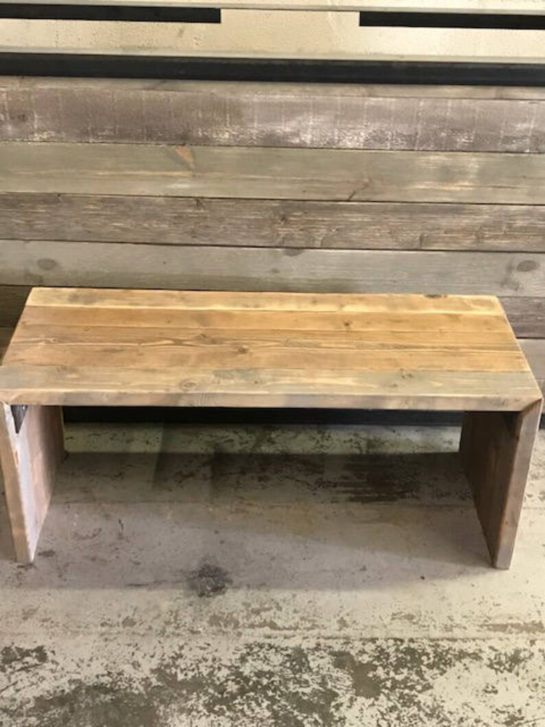 Wooden Bench Rustic Beautiful 3 Tone Aged Parsons Style