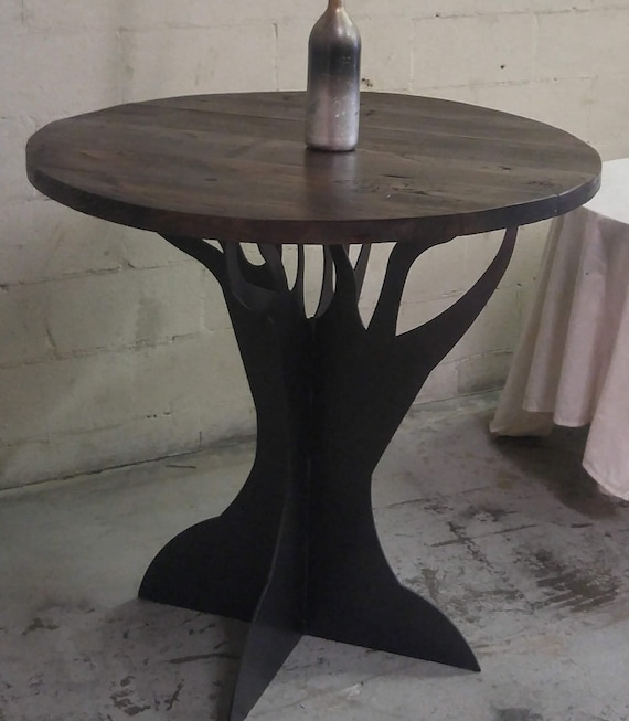 Wooden Reclaimed Round Table Top With Metal Tree Pedestal Base   Etsy