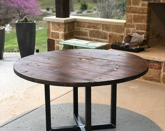 The Reclaimed Round- Rustic Indoor/Outdoor Wooden Dining or Coffee Tables with Metal Cross Base