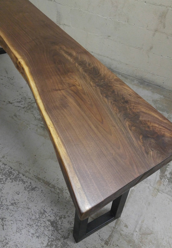Beau Live Edge Bar Table Tops   Black Walnut With Industrial Metal Table Legs