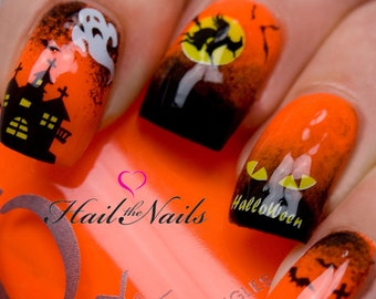 Halloween Nail Art Water Transfer Ghost Sticker Decal Nail Wraps Bats Witches Haunted House Y745