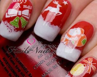 Christmas Nail Wraps Water Transfers Decal Nail Art Santa Bells Reindeer Yt134