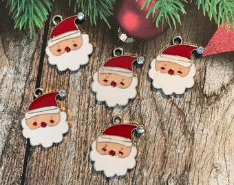 4 x Enamel Santa Silver Plated Pendant Charms Xmas Father Christmas