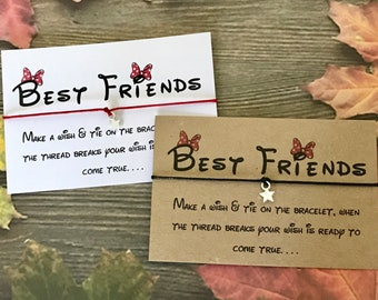 Best Friends Disney Font Wish String Bracelet Birthday Card Friendship Gift Party Y60