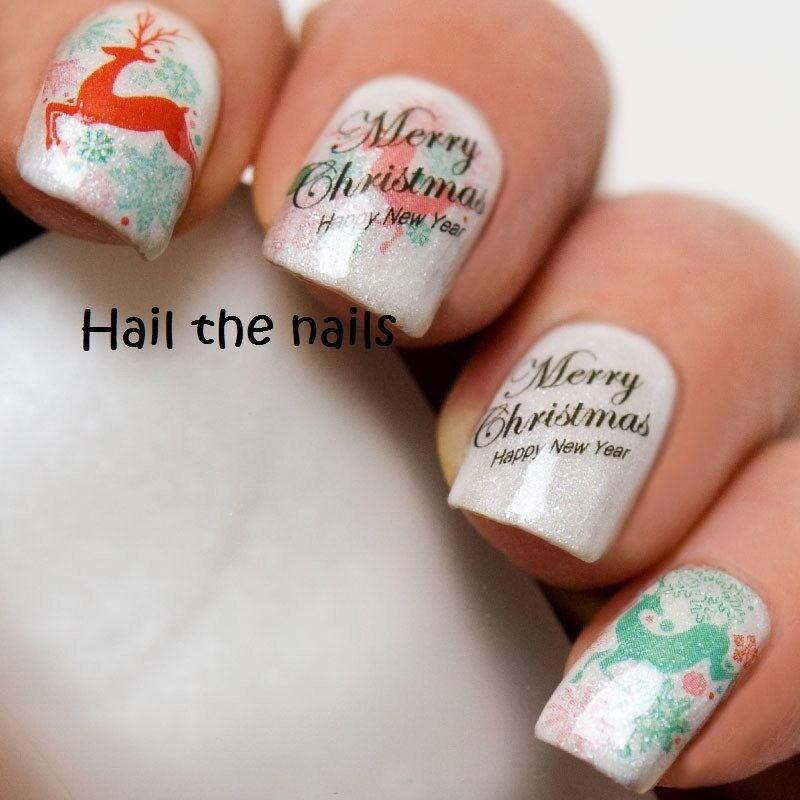 Xmas Nail Transfers: Merry Christmas Nail Wraps Water Transfers Decal Nails Art
