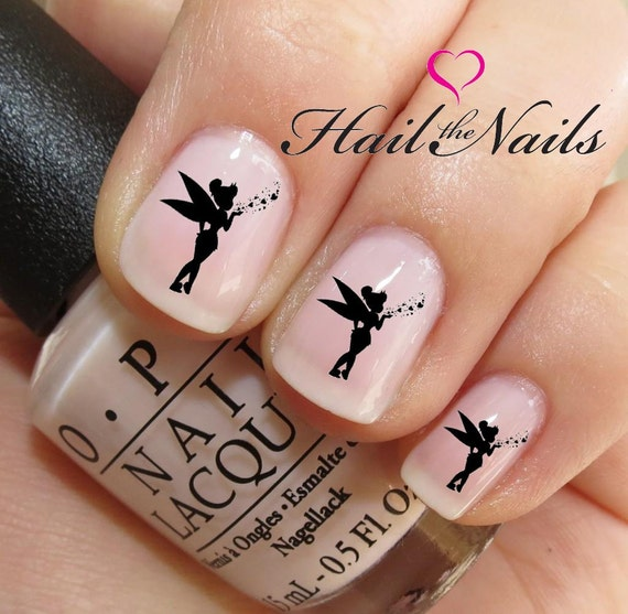 Nail Art Water Transfer Decal Tinkerbell Fairy Want Hearts