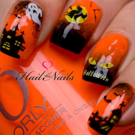 Halloween Nail Art Water Transfer Decal Nail Wraps Bats | Etsy