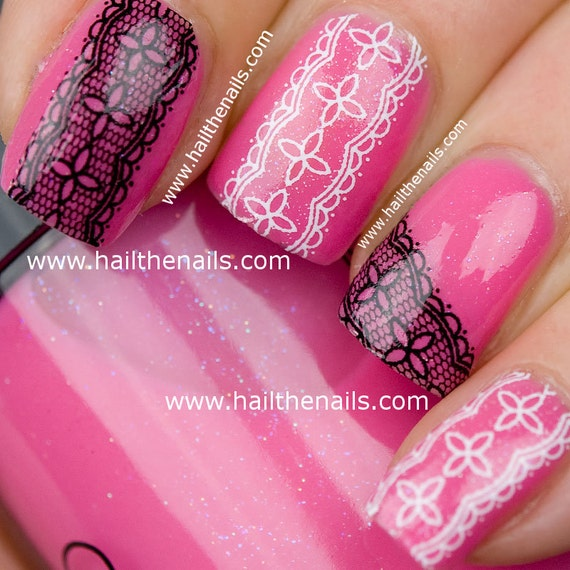 Black & White Lace Nail Art Water Nails Transfer Decal