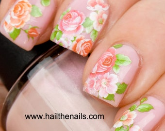English Rose Nail Art Water Transfer Decal Pink & Peach Y093