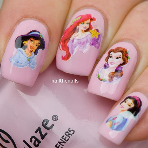 Nail Wraps Nail Art Water Transfers Decals Disney Princesses Etsy