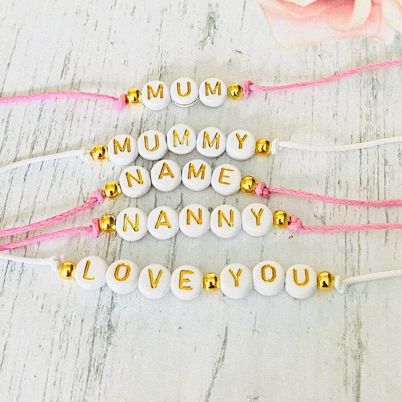 Custom Words Names Alphabet Letter Beads DIY Craft 7mm Lettering Charms White Gold Acrylic Letter Beads Jewellery Making