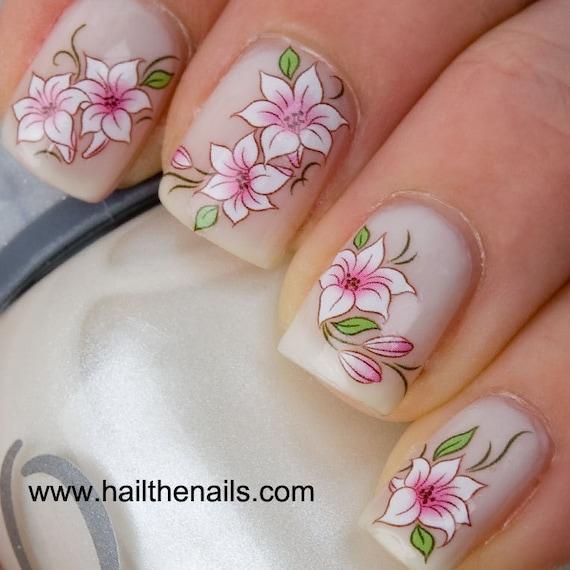 Pink & White Lotus Flower Nail Art Water Transfer Decal | Etsy