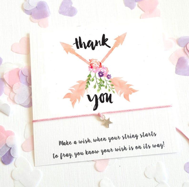 Wish String Bracelet Thank You Arrows Wedding Wreath Birthday Favour Card Hen Party Vintage Boho