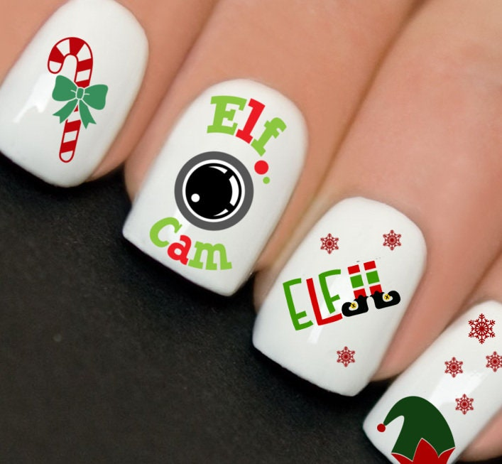 Christmas Nails Elf: Nails WRAPS Nail Art Water Transfers Decals Christmas Elf