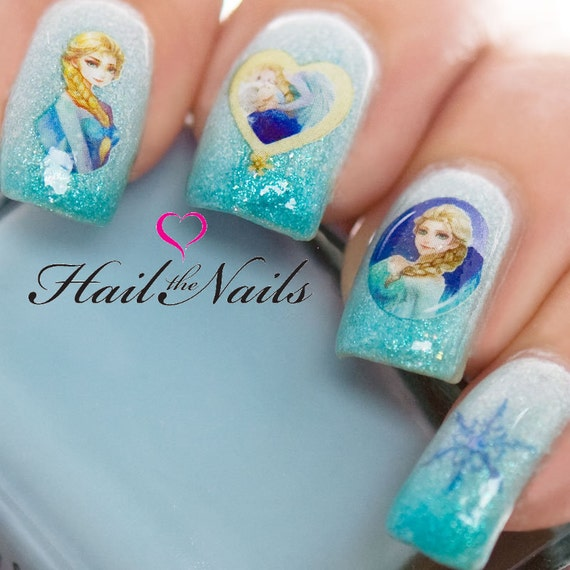 image 0 - Frozen Nail Art Wraps Water Transfers Decals Elsa Anna Y1109 Etsy