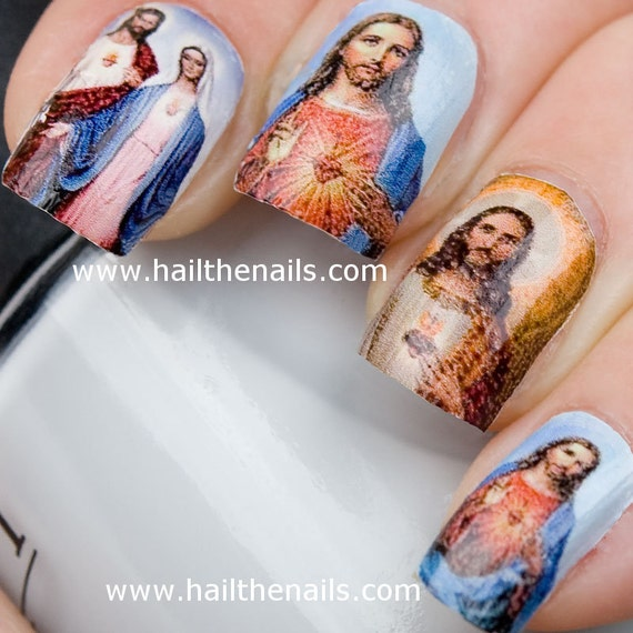 Jesus Mary Nail Art Water Transfer Decal Full Nail Wrap Y16 Etsy