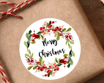 Wreath Merry Christmas Round Sticky Labels Gift Envelope Stickers