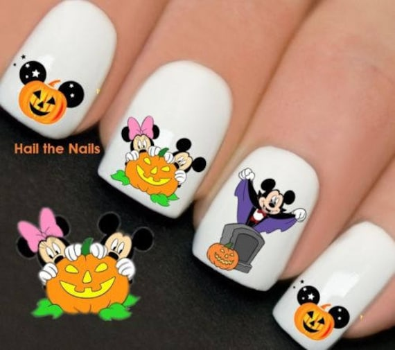 Disney Halloween Mickey Minnie Mouse Nail Art Water Transfer