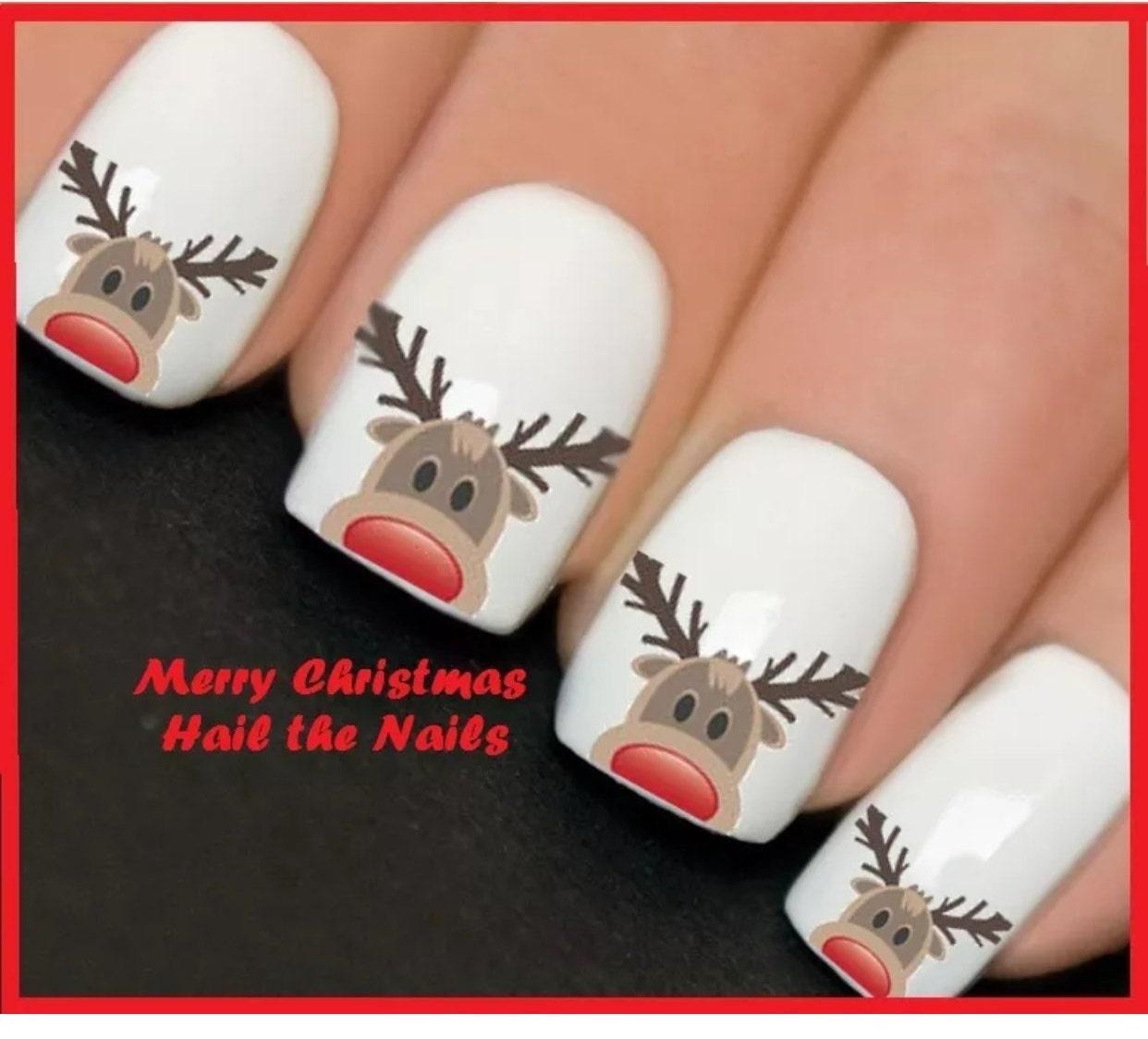 Reindeer Nail Art: Rudolf Reindeer Nails Nail Art Decals Wraps Stickers